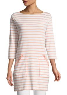 Joan Vass Striped Cotton Interlock 2-Pocket Tunic