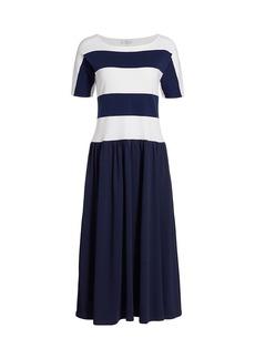 Joan Vass Striped Dolman Dress