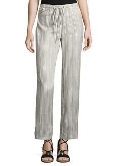 Joan Vass Striped Drawstring-Waist Pants