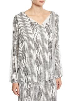 Joan Vass Striped-Gauze Crochet Split-Sleeve Top