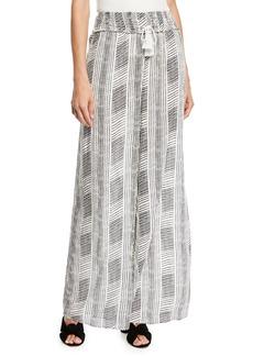 Joan Vass Striped Gauze Wide-Leg Pants
