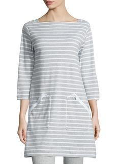 Joan Vass Striped Interlock Tunic  Gray/White  Petite