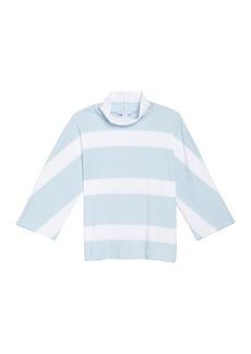 Joan Vass Striped Mock Neck Pullover