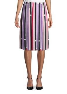Joan Vass Striped Plisse Mini Skirt