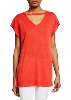 Joan Vass Summer Cap-Sleeve Choker Sweater