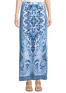 Joan Vass Tile-Print Side-Slit Maxi Skirt