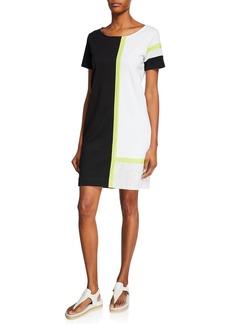 Joan Vass Tricolor Colorblock Scoop-Neck Short-Sleeve Dress