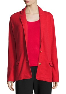 Joan Vass Two-Button Long Pique Blazer