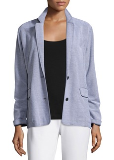 Joan Vass Two-Button Pique Boyfriend Jacket  Plus Size