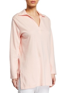 Joan Vass V-Neck Long-Sleeve Cotton Interlock Tunic