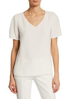 Joan Vass V-Neck Short-Sleeve Top