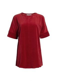 Joan Vass Velour Short-Sleeve Tunic