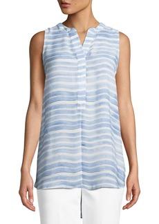 Joan Vass Watercolor-Striped Sleeveless Tunic