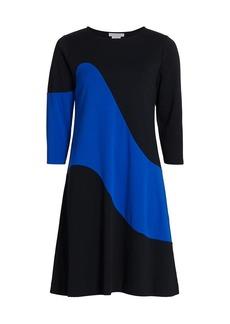 Joan Vass Wave Colorblock Dress