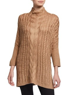 Joan Vass Wide-Neck Cabled Sweater