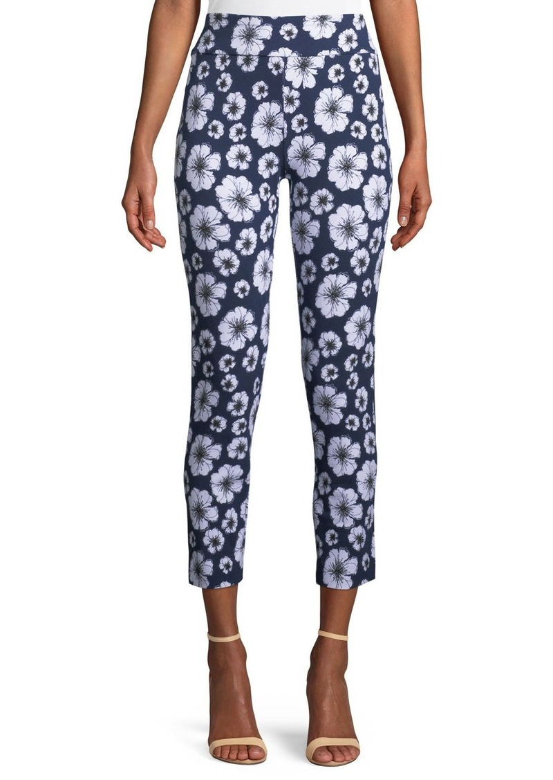 Joan Vass Plus Size Floral-Print Slim Pants