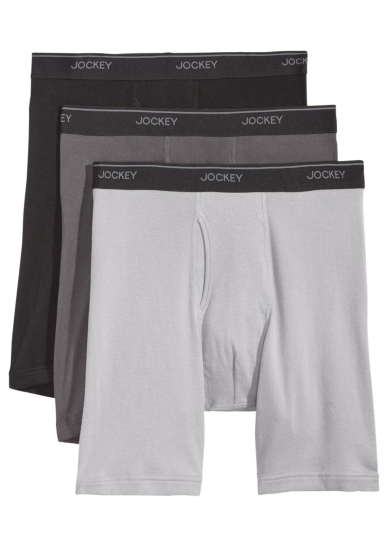 3c84cb1cac3d Jockey Men's 3-Pack Essential Fit Cotton Staycool+ Midway Boxer Briefs