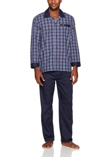 Jockey Men's Woven Long Sleeve Pajama Set Blue/red