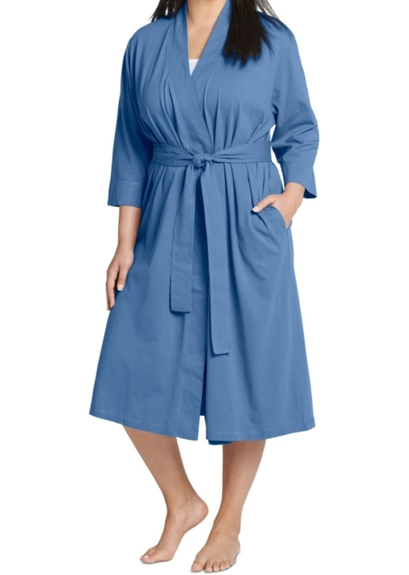 Jockey Plus Size Everyday Essentials Cotton Long Wrap Robe