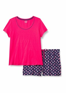 Jockey Women's 2 Piece Boxer Set Fuschia TOP with Coffee Cups XL