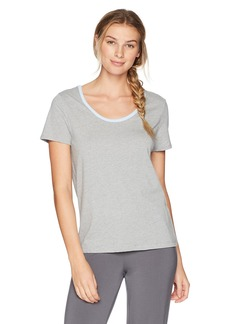 Jockey Women's Cotton Jersey Short Sleeve Top With Back Keyhole Heather Grey XL
