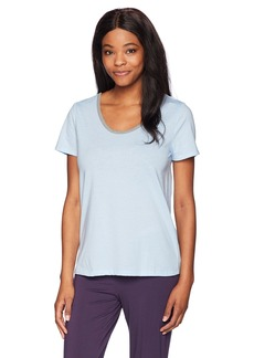 Jockey Women's Cotton Jersey Short Sleeve Top with Back Keyhole Sky Blue L