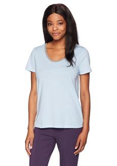 Jockey Women's Cotton Jersey Short Sleeve Top with Back Keyhole Sky Blue M