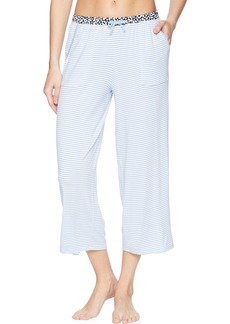 Jockey Women's Cropped Pajama Pant Blue core Stripe M