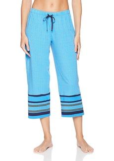 Jockey Women's Cropped Pajama Pant Border Print  M