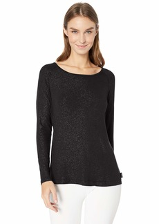 Jockey Women's Draped Strappy Back Long Sleeve T-Shirt deep Black Melange