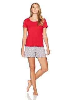Jockey Women's Knit Boxer Set Crimson Top with Dog Boxer M