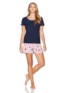 Jockey Women's Knit Boxer Set Midnight Top with Shop Till You Drop Boxer XL