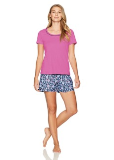 Jockey Women's Knit Boxer Set Orchid to with Paisley Boxer M