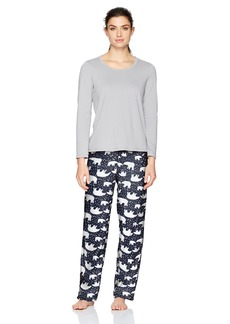 Jockey Women's Microfleece Pajama Set Grey Top with Momma Bears Pant XL