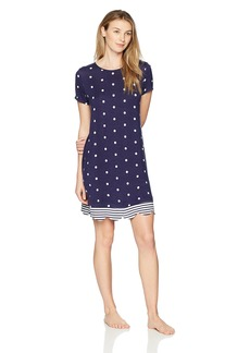 Jockey Women's Short Sleeve Dot Stripe Sleepshirt  L