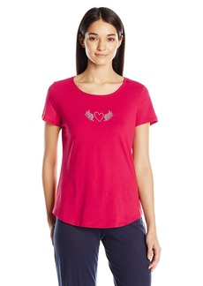 Jockey Women's Short Sleeve Top with Heart Screenprint