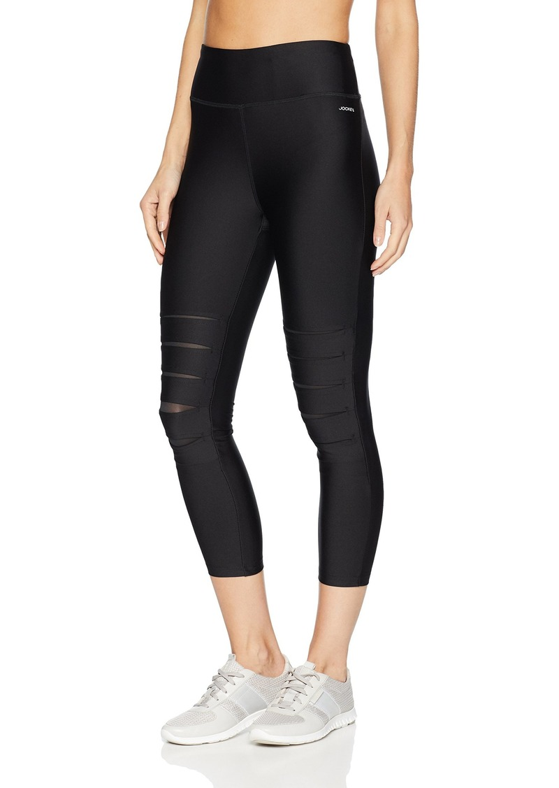 Jockey Women's Slit Cutout Capri Legging Black Front