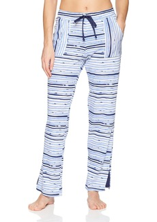 Jockey Women's Striped Cotton Jersey Long Pant Painted Ink L