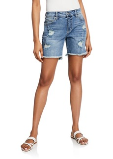 Joe's Jeans Bermuda Distressed High-Low Frayed Shorts