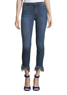 Joe's Jeans Charlie Shredded-Hem Straight-Leg Ankle Jeans