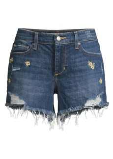 Joe's Jeans Cut-Off Embroidered Daisy Shorts