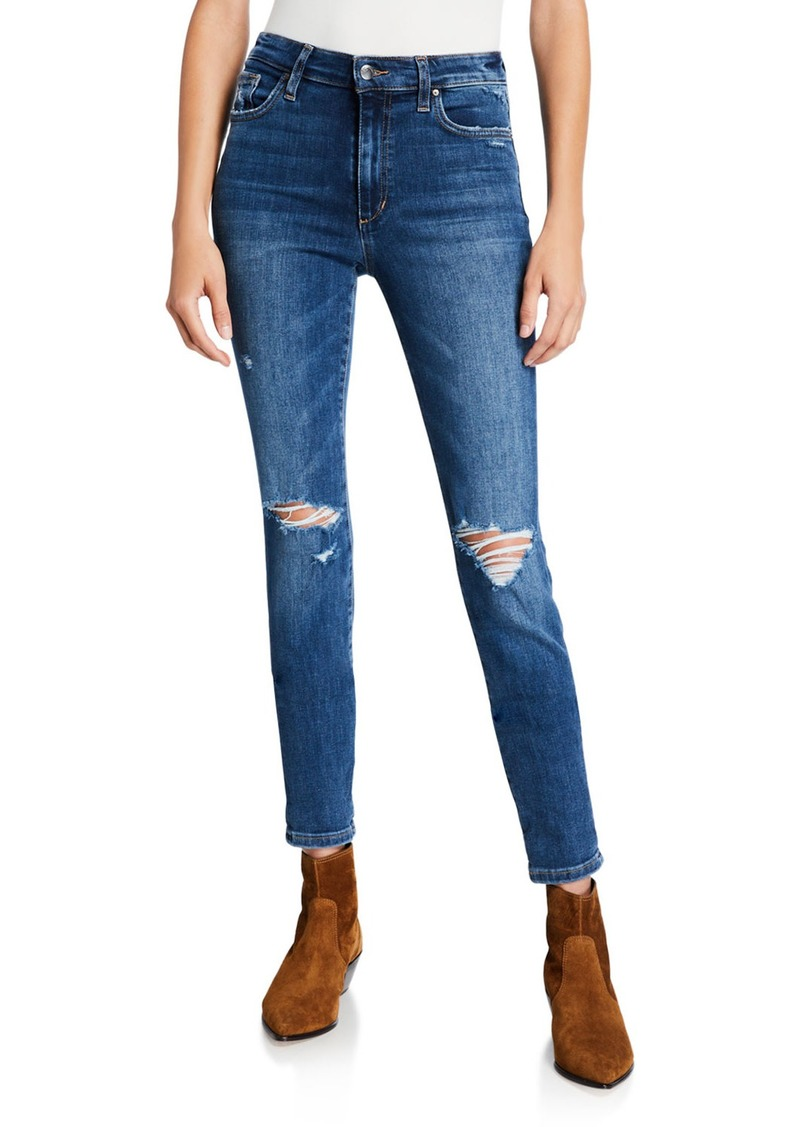 Joe's Jeans Destroyed High-Rise Ankle Jeans w/ Rolled Hem