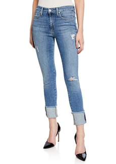 Joe's Jeans Distressed Skinny Cropped Cuff Frayed Jeans