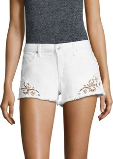 Joe's Jeans Embroidered Frayed Denim Shorts