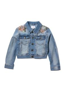 Joe's Jeans Floral Embroidery Frayed Denim Jacket (Big Girls)