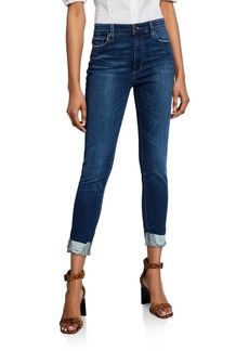 Joe's Jeans Frayed Button-Fly High-Rise Skinny Jeans