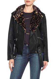 Joe's Jeans Riley Lamb Leather & Faux Fur Collar Jacket
