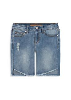 Joe's Jeans Girl's High-Rise Angled Hem Denim Shorts