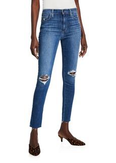 Joe's Jeans High-Rise Knee-Rip Skinny Ankle Jeans