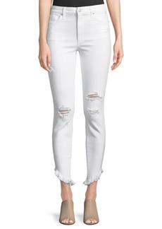 Joe's Jeans High-Rise Skinny Frayed-Hem Ankle Jeans